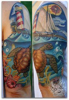 Tatuagem-Tartaruga-barco-e-farol.jpg (428×622)