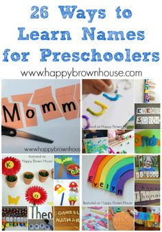 Does your preschool or kindergarten child need to learn or practice their name? Here are 26 Ways to Learn Names for Preschoolers. These name activities are perfect for getting all those letters in the right order. Preschool Name Recognition, Name Activities Preschool, Name Writing Activities, Preschool Education, Kids Learning Activities, Preschool Lessons, Alphabet Activities, Preschool Activities, Therapy Activities