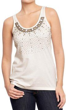 857434980d316 Sea Salt   White Beaded Yoke Tank Top Cami. Old Navy ...