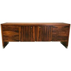 Mid Century Modern Rosewood and Chrome Office Credenza Mid Century Modern Mirror, Mid Century Modern Living Room, Swivel Office Chair, Modern Credenza, Sideboard Buffet, Mid Century Furniture, Home Furniture, Furniture Storage, Storage Shelves