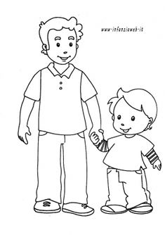 papa_bambino Fathers Day Coloring Page, Family Coloring Pages, Bible Coloring Pages, Coloring Pages For Girls, Coloring Books, Fathers Day Crafts, Happy Fathers Day, My Little Pony Birthday Party, Family Theme