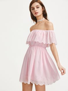 abe456ebd4b3 Pink Off Shoulder Elastic Waist Scallop Edge Dress