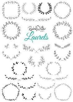 Laurels & Wreaths, vector illustrations from rachelwhitetoo on Etsy.