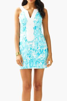 "The Valli printed shift is a new take on a classic style. This nautical shift dress is perfect for a summer wedding or a party. We love the detail at the neckline.  Measures: 18"" natural waist to hem  Valli Printed Shift-Dress by Lilly Pulitzer. Clothing - Dresses - Mini Sandestin Golf and Beach Resort Florida"