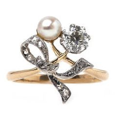 Romantic Edwardian Era Classic Pearl Diamond Engagement Ring