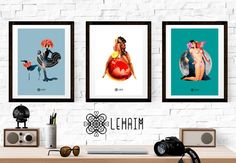 Pack 3 Prints Pin up style Vintage illustration por LehaimDesign