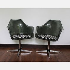 '60s Smoked Lucite Swivel Chairs, $725, now featured on Fab.