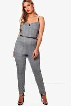 2841c989e3f Plus Hattie Check Plunge Jumpsuit Plus Size Romper