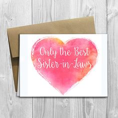PRINTED CUSTOM Only the Best Sister-in-Laws Get Promoted to Auntie Pregnancy Announcement 5x7 Greeting Card - Expecting Watercolor Heart by DesignsLM on Etsy