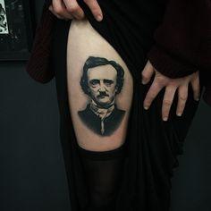 True Goth Edgar Poe Thigh tattoo