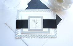 Modern Black and White Wedding Invitation - SAMPLE SET