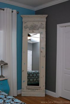 Transform a basic $39 Ikea STAVE mirror from blah to amazing by mounting it on to a piece of plywood with ornate moulding. Best of all... the STAVE mirror comes with brackets that allow for your mirror to open when mounted on something. The mirror now conceals my costume jewelry necklaces from being seen!