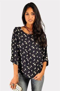 Bird Call Top - Navy #bird #clothes #women