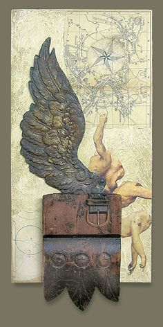 homage to icarus ~ mixed media ~ by dick allowatt Canvas Collage, Paper Collage Art, Mixed Media Collage, Box Art, Art Boxes, Found Object Art, Art Projects, Design Projects, Assemblages