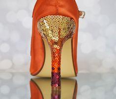 Look stunning with an ombre sequin heel on your custom wedding shoes! (www.elliewren.com) #customweddingshoes #sequinshoes #ombreshoes