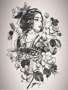 Geisha Tattoo Design, Japan Tattoo Design, Tattoo Design Drawings, Japanese Geisha Tattoo, Japanese Tattoo Designs, Japanese Sleeve Tattoos, Dark Art Tattoo, Tattoo Flash Art, Tatoo Art
