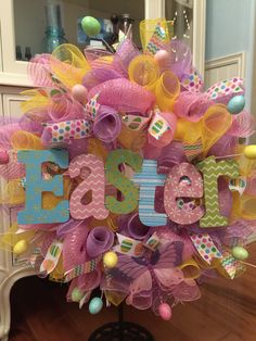 Pastel Deco Mesh Easter Wreath