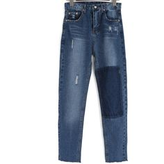 Blue Pockets Bleached Ripped Denim Pant ($17) ❤ liked on Polyvore featuring pants, bleached pants, blue trousers, pocket pants, blue pants and ripped pants