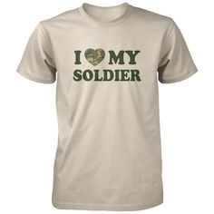 I Love My Soldier Shirt - My soldier has my heart. All of our incredibly soft unisex adult shirts are made of 100% combed cotton. The sport grey t-shirt is made of 90% combed cotton and 10% polyester. Every t-shirt is custom made within 2-3 business days of completed payment.