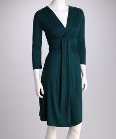 {Emerald Elegant V-Neck Dress by Survival} Looks comfy...