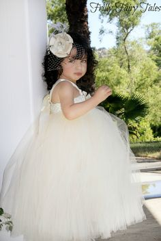 Ivory & Champagne Flower Girl Dress. $85.00, via Etsy.