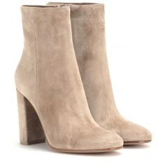 Gianvito Rossi Suede Ankle Boots ($850) ❤ liked on Polyvore featuring shoes, boots, ankle booties, heels, tan, neutrals, suede bootie, short boots, suede leather boots and suede ankle booties
