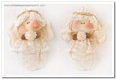 Souvenirs infantiles angelitos de tela paso a paso. Manualidades Country.