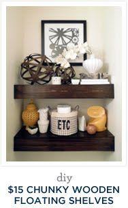 For the bathroom? DIY $15 Chunky Wooden Floating Shelves | Desert Domicile
