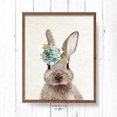 Rabbit Print Nursery Wall Art Woodlands Forest by AMELIEVintageCo