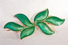 David Andersen enamel leaf brooch exquisite by TouchstoneVintage