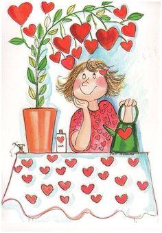View album on Yandex. Cute Images, Heart Art, Whimsical Art, Cute Illustration, Doodle Art, Cute Cartoon, Painted Rocks, Cute Art, Valentines Day