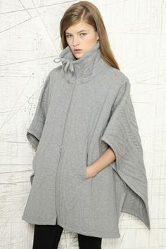 MM6 Padded Cable Knit Poncho