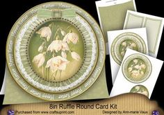 Snowdrops Happy Easter 8inch Round Ruffle Mini Card Kit on Craftsuprint - Add To Basket!