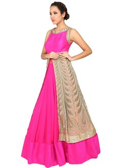 Pink and beige anarkali suit embroidered in zardosi - Kalkifashion.com