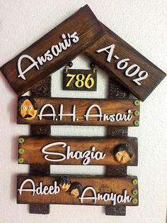 Wooden Name Plates, Door Name Plates, Name Plates For Home, Wooden Door Hangers, Wooden Doors, Name Plate Design, Painted Bookshelves, Wooden Hut, Diy Wall
