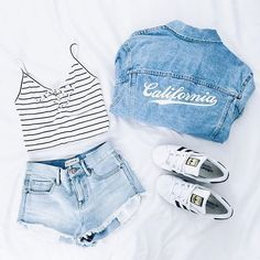 Cute outfit. Brandy Melville. Jean jacket. Cropped stripped tank. Highwaisted denim shorts. Adidas shoes. Summer fashion.