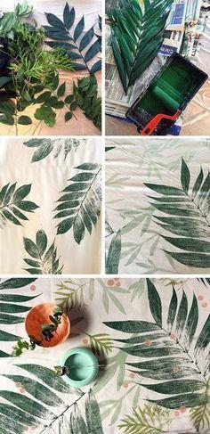 Doe-het-zelf! Bestempel textiel met bladeren en bekom dit mooie resultaat. Je hebt enkel stof, bladeren en verf nodig. #diyfabric (website)