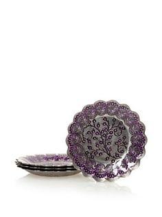 "Arda Glassware Set of 4 Romantic 8.5"" Dessert Plates (Black Silver/Purple)"