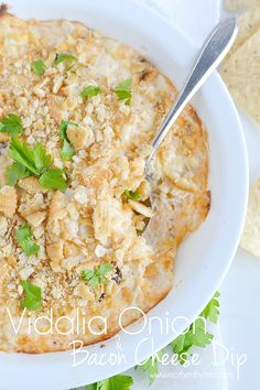 An easy recipe cheesy, creamy and easy Vidalia Onion and Bacon Cheese Dip. Serve with tortilla chips, pita chips, crackers or a fresh baguette.