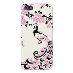 Black, pink, peacock and cherry blossoms custom covers for iPhone 5 $38.10