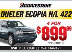 Bridgestone Dueler Ecopia H/L 422 -  4 for $899.99