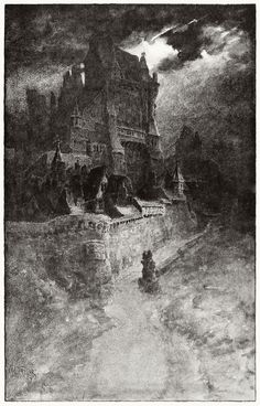 """Lo there! The roofs   Of our great Hall are rolled in thunder-smoke!"" from The Holy Grail, by Alfred, Lord Tennyson, Boston, 1887. Illustration by W. L. Taylor (1854-1926), an American artist influenced by the pre-Raphaelites."