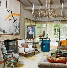 """""""French Formal"""" ART AFFINITY:  formal antique furniture with modern art pieces."""
