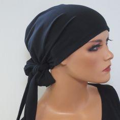 Kopftücher - TURBAN/MÜTZE schwarz zum Wickeln CHEMO - ein Designerstück von…