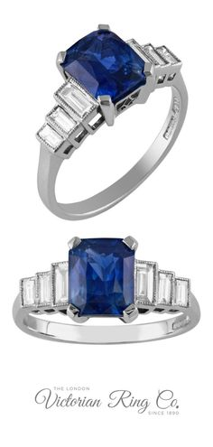 The emerald-cut blue sapphire is highlighted on each side by three sparkling steps made of baguette-cut diamonds. The platinum ring holds the sapphire with four claws, while the diamonds are rubover set and edged with vintage inspired millegrain. This Art Deco style ring is continuing to be made exclusively by us to an original early 20th century design. #sapphireengagementring #sapphirering #bluesapphireengagementring #artdecoengagementring #baguettediamondshoulders