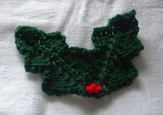 Knitted Holly Leaves by Lesley Arnold-Hopkins