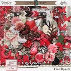 """Grace Blossoms 4 U : Scraps N Pieces Store """"Love Rejoices with the truth..."""" new digital scrapbooking kit by Grace Blossoms 4 U. For weddings and/or Valentine's or any scrapping pages made for about your loved ones. Lots of flowers and hearts in the traditional pink/red color scheme."""