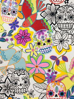 Alexander Henry Calaveras Alegres in Natural   by BobbieLouFabric, $5.00