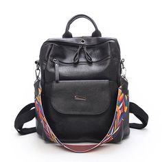 Vintage Women Backpack School Colorful Strap Leather Bags School Backpacks For Teenage Girl Bag Large Mochila Feminine Fur Backpack, Small Backpack, Fashion Backpack, Vintage Ladies, Retro Vintage, Baby Unicorn, Girls Bags, School Backpacks, Large Bags