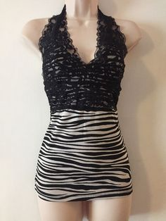 Juniors Zebra Halter Top Lipstick Black Lace Size Medium  | eBay